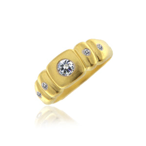Yellow Gold Brush Diamond Ring