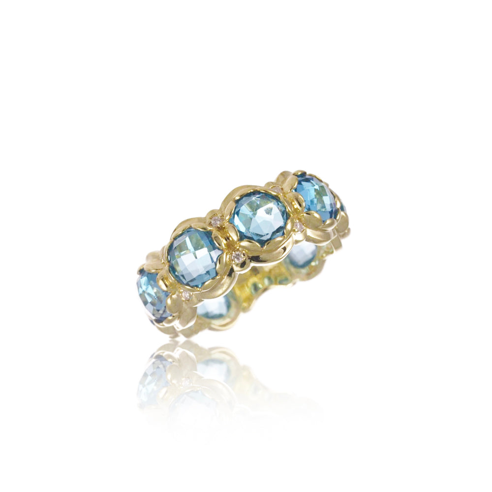 Blue Topaz and Diamond Yellow Gold Ring