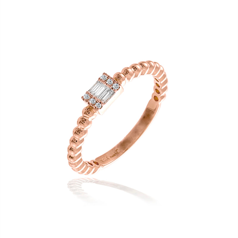Rose Gold Dainty Baguette Ring