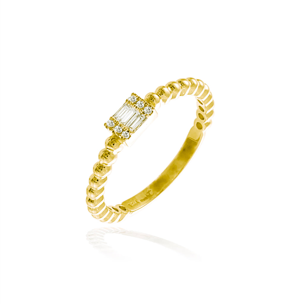 Yellow Gold Dainty Baguette Ring