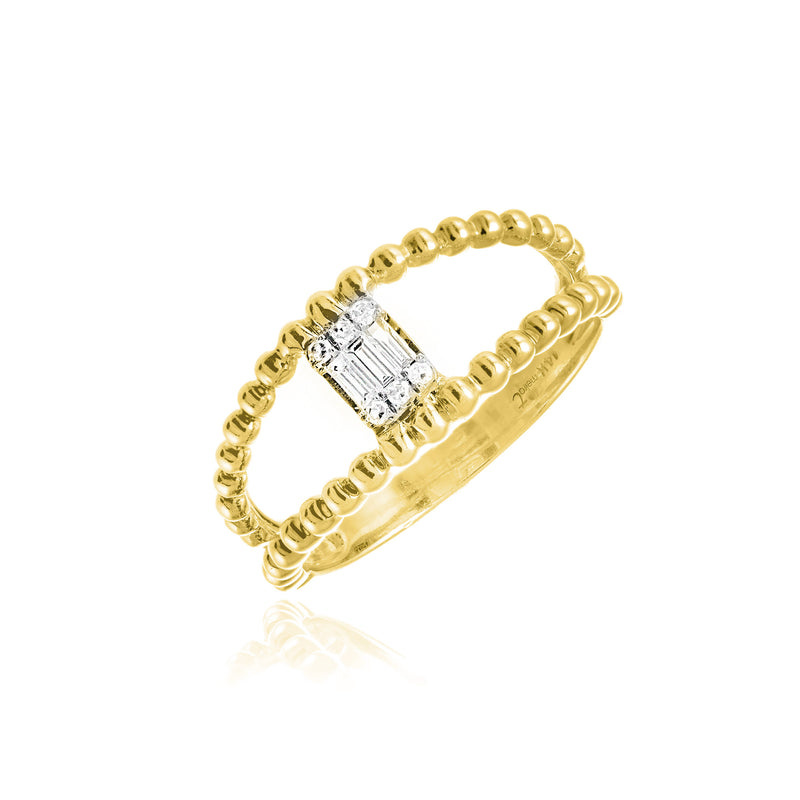 Yellow Gold Baguette Double Ring