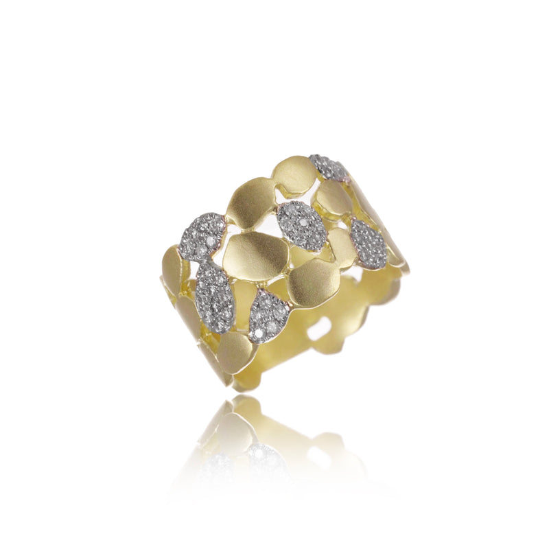 Yellow Gold and Diamond Chunky Ring