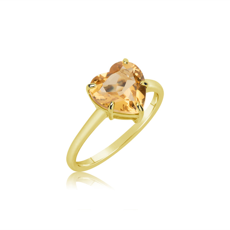 gold citrine heart ring