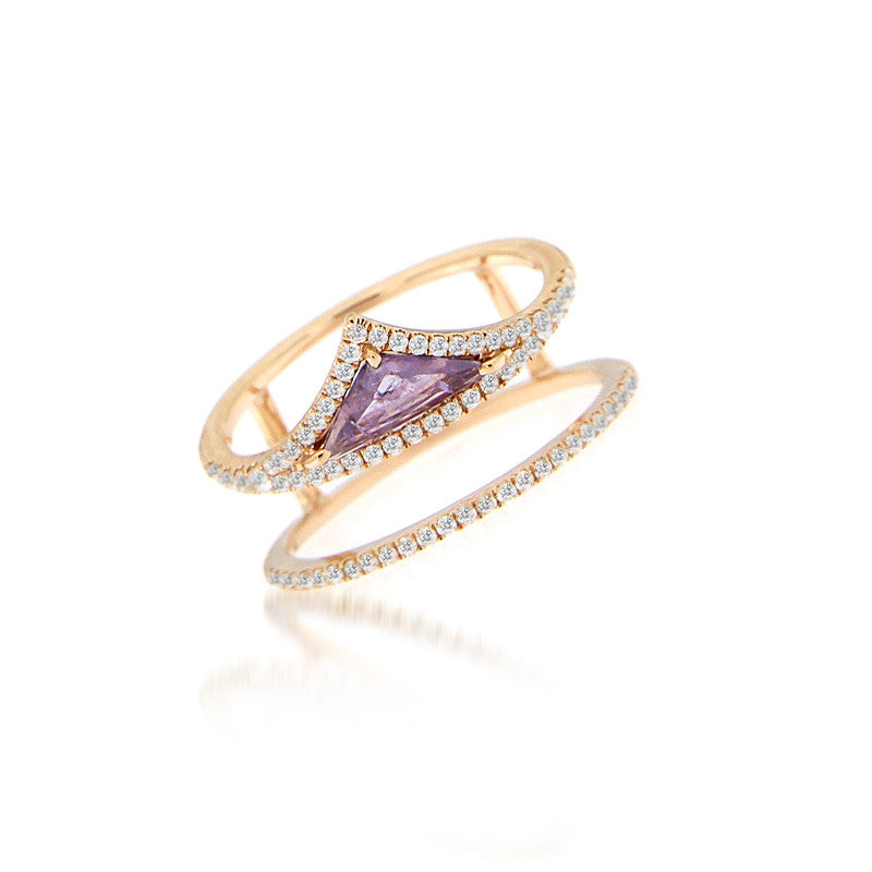 Tanzanite Geometric Gold Ring