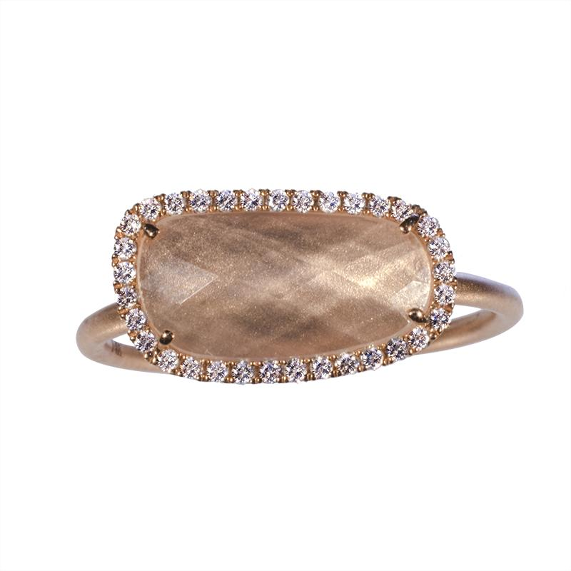 White Topaz Halo Ring in Rose Gold