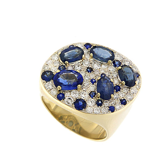 Yellow Gold One of a Kind Blue Sapphire Diamond RIng