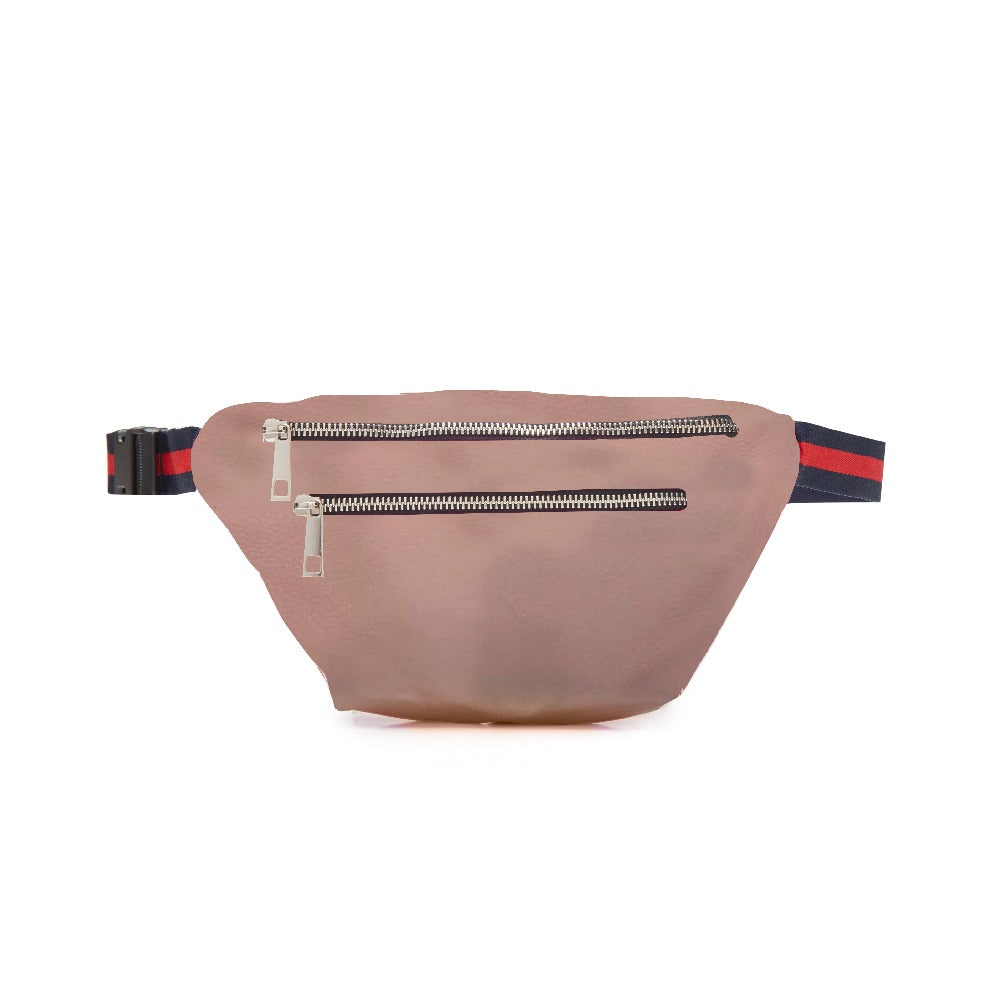 Light Pink Double Zipper Belt Bag Fanny Pack