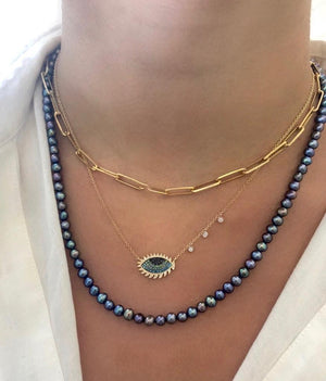 Round Freshwater Blue Pearl Layering Necklace