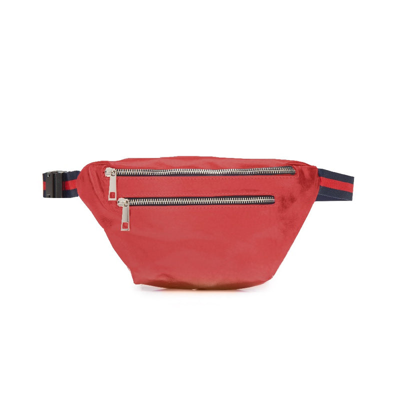Raspberry Double Zipper Belt Bag Fanny Pack