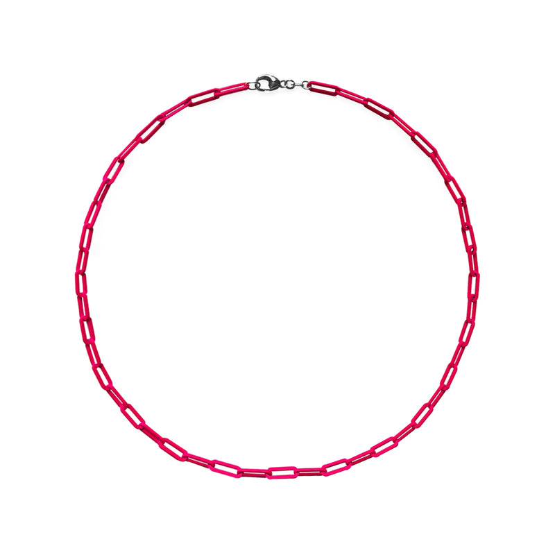 Neon Pink Paperclip Chain Necklace WEB EXCLUSIVE