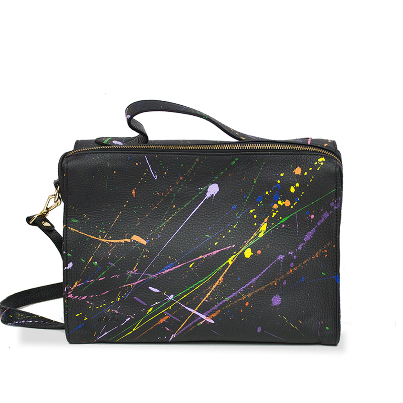 The Meira Rainbow Splatter Bag