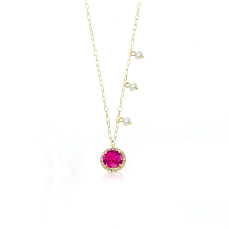 Pink Tourmaline Delicate Necklace