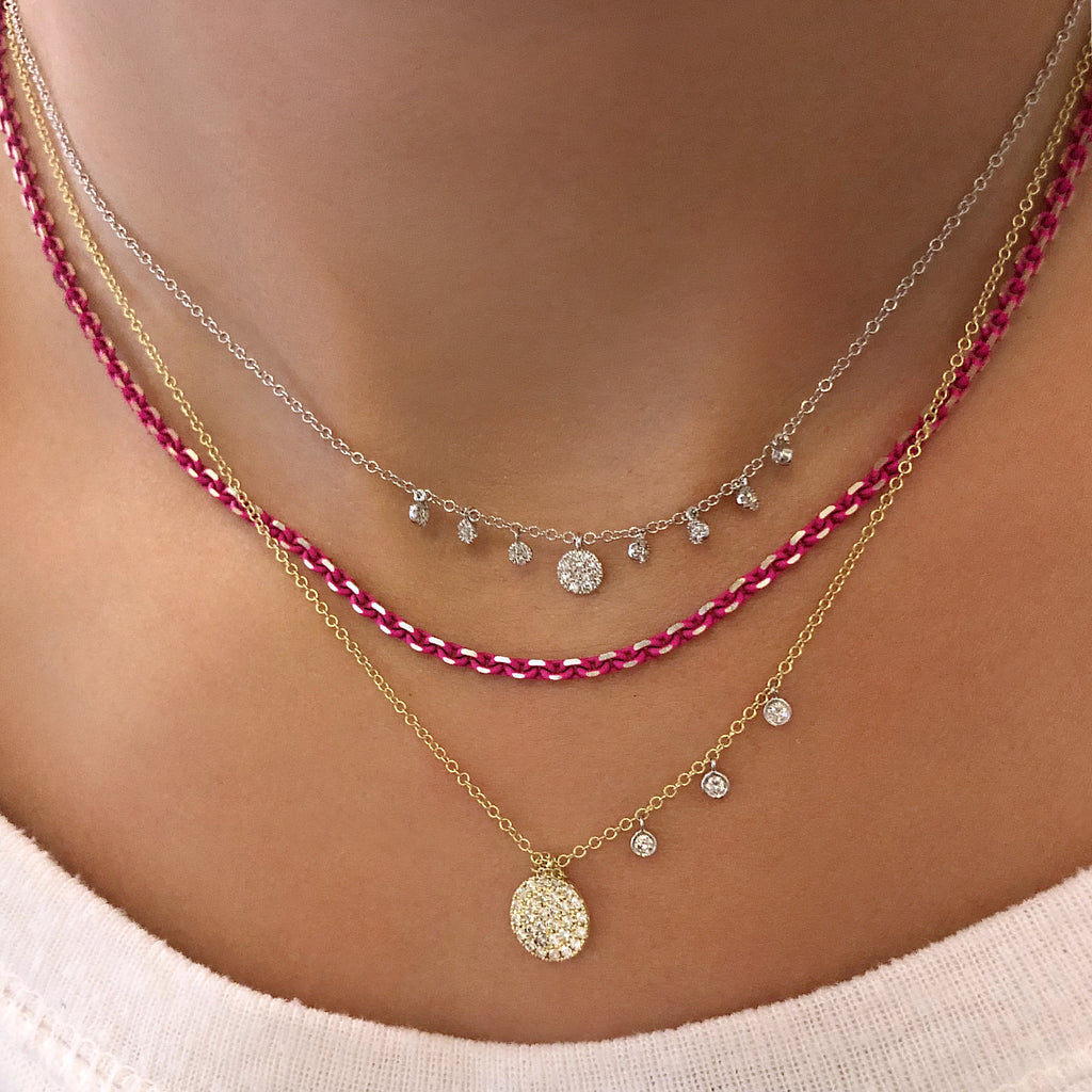 Neon Pink Sterling Silver Diamond Cut Layering Necklace, 18 inches