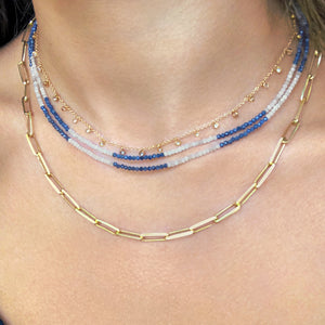 Dainty Blue Sapphire and White Moonstone MASK CHAIN/ SUNGLASS CHAIN