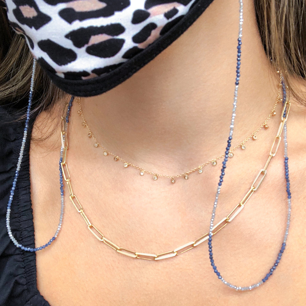 Dainty Blue Sapphire and Labrodorite MASK CHAIN/ SUNGLASS HOLDER