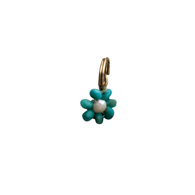 Dainty Turquoise Petal and Rose Quartz Center Beaded Flower Charm