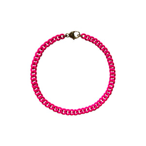 Neon Pink Curb Chain Bracelet WEB EXCLUSIVE