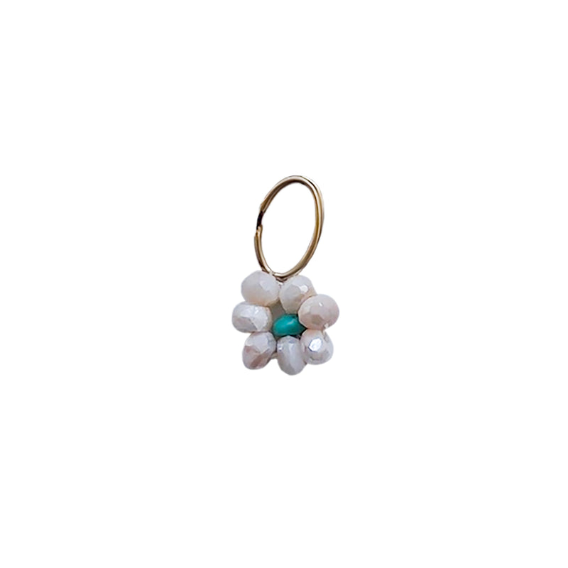 Dainty Rose Quartz Petal and Turquoise Center Beaded Flower Charm