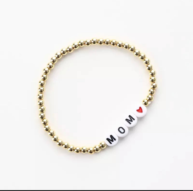 MOM and HEART message 4mm Yellow Gold Fill Ball Bracelet