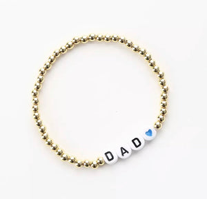 DAD and HEART message 4mm Yellow Gold Fill Ball Bracelet