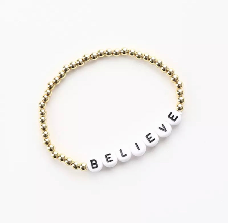 BELIEVE message 4mm Yellow Gold Fill Ball Bracelet