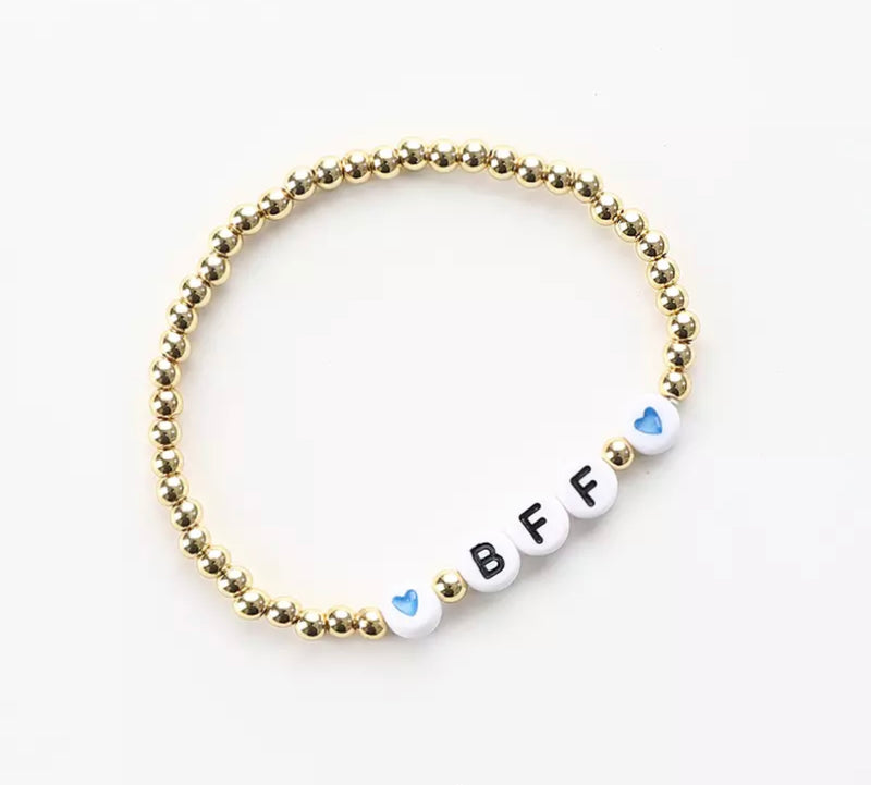 BFF and HEART message 4mm Yellow Gold Fill Ball Bracelet
