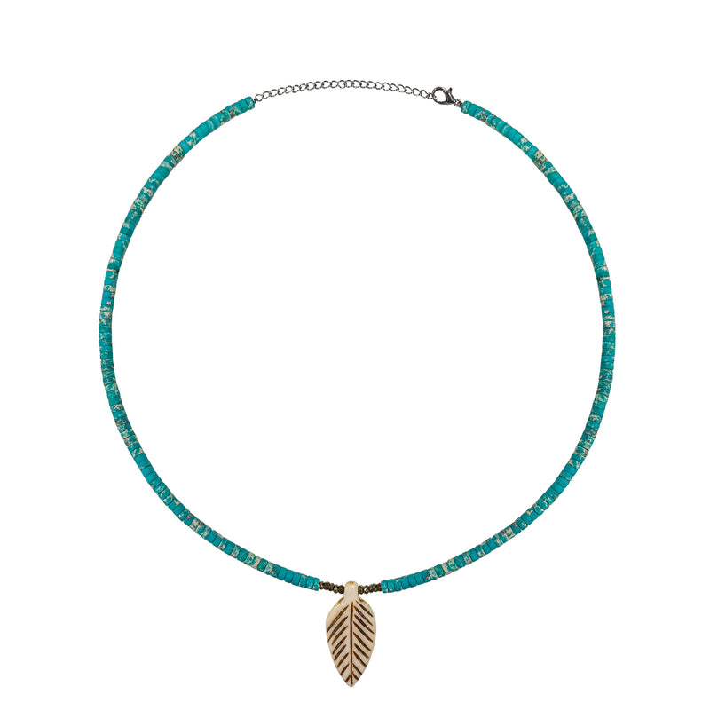 Turquoise Bead and Feather Statement Necklace- ALL NEW BOUTIQUE EXCLUSIVE