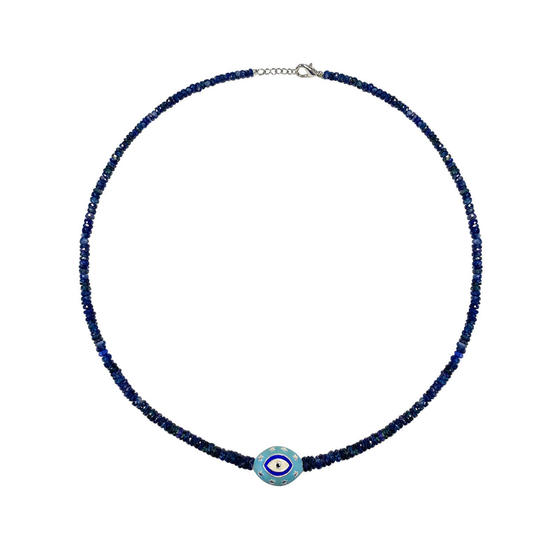 Sapphire and Evil Eye Statement Necklace- ALL NEW BOUTIQUE EXCLUSIVE