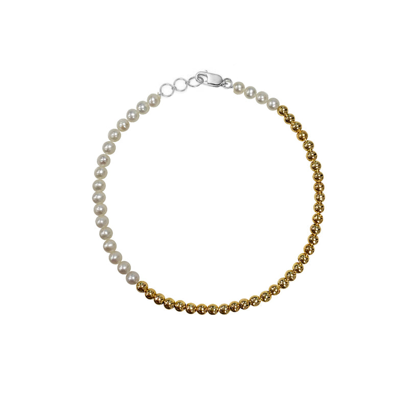 Half and Half Gold and Pearl Bead Bracelet- ALL NEW BOUTIQUE EXCLUSIVE