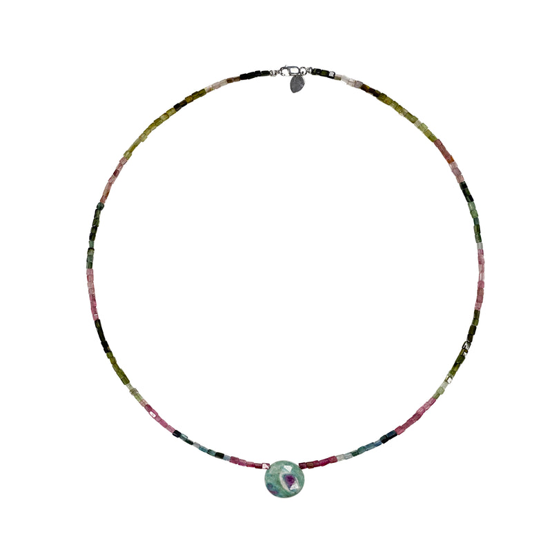 Watermelon Tourmaline Bead and Center Stone Necklace- ALL NEW BOUTIQUE EXCLUSIVE