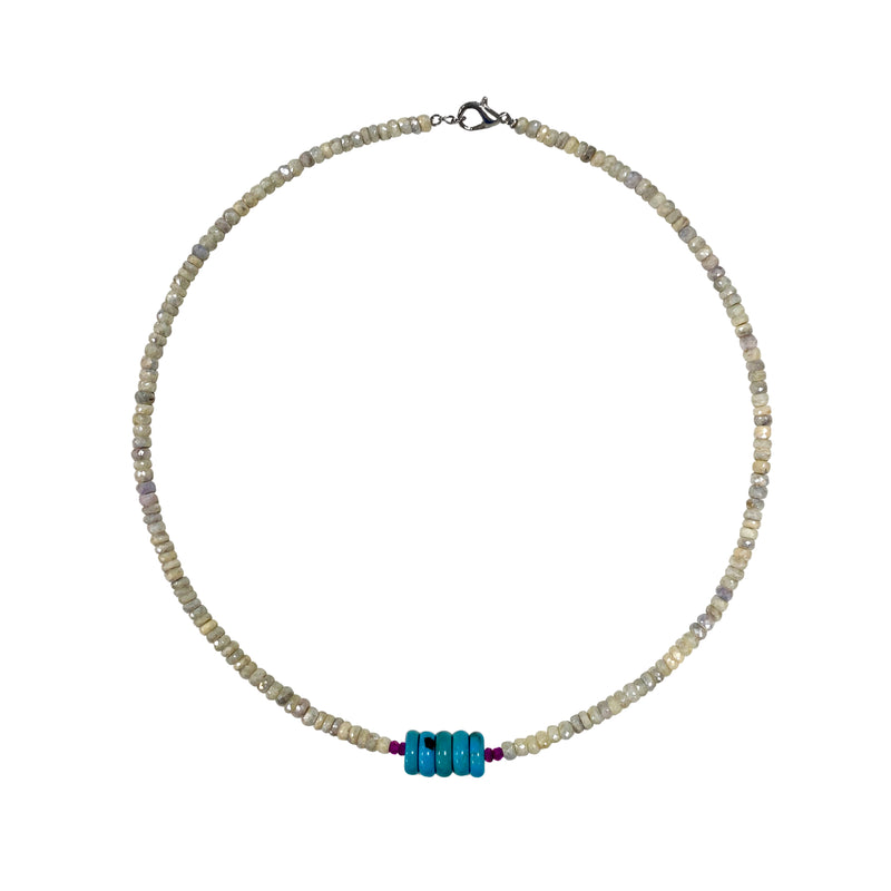 Corundum Rondelle and Turquoise Necklace- ALL NEW BOUTIQUE EXCLUSIVE