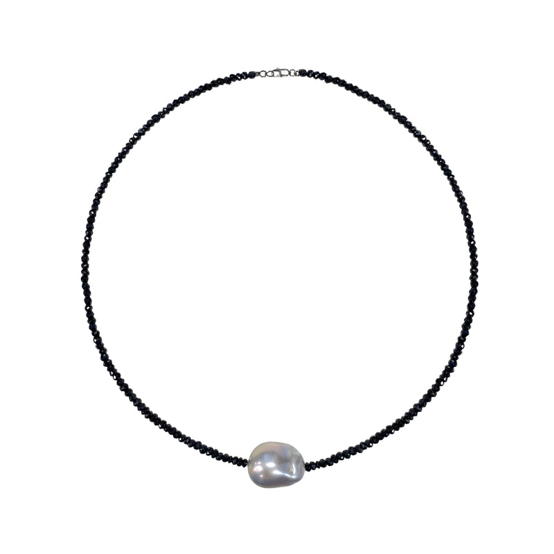 Black Spinelle Choker with Organic Shaped Pearl Center- ALL NEW BOUTIQUE EXCLUSIVE