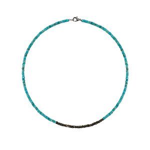 Turquoise and Gold Pyrite Bead Necklace- ALL NEW BOUTIQUE EXCLUSIVE