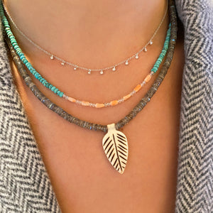 Labradorite Bead and Carved Feather Necklace- ALL NEW BOUTIQUE EXCLUSIVE