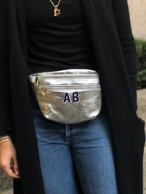 Customizable Initial Silver Leather Double Zipper Belt Bag Fanny Pack