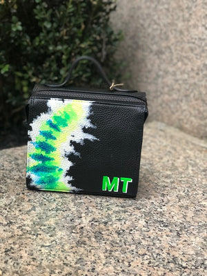The Mini Meira Flourescent Green Tie Dye Initial Bag
