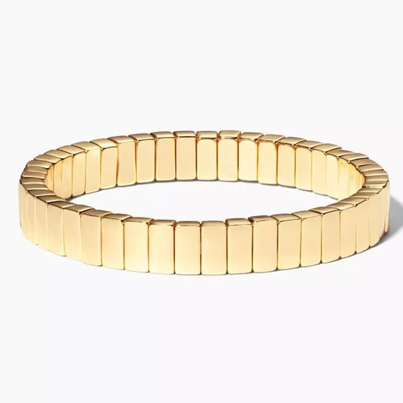 Gold Colored Enamel Stretchy Bracelet