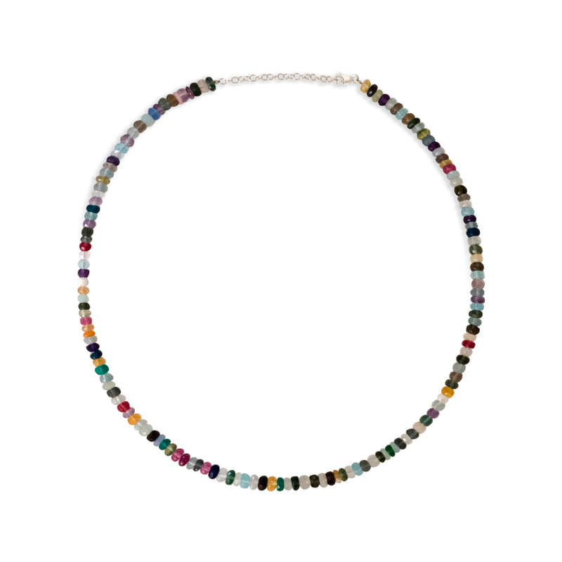 Long Rainbow Quartz Beaded Necklace
