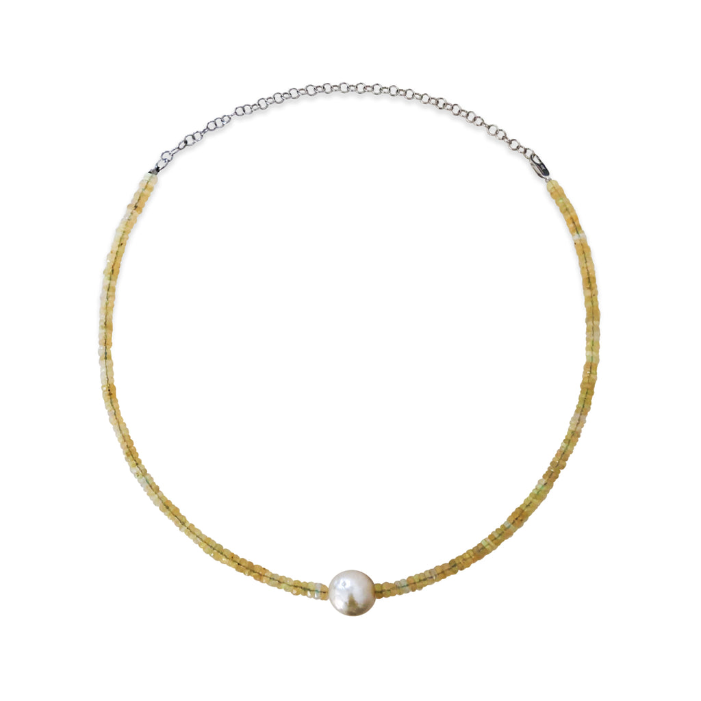 White Opal and Freshwater Pearl Bead Layering Necklace