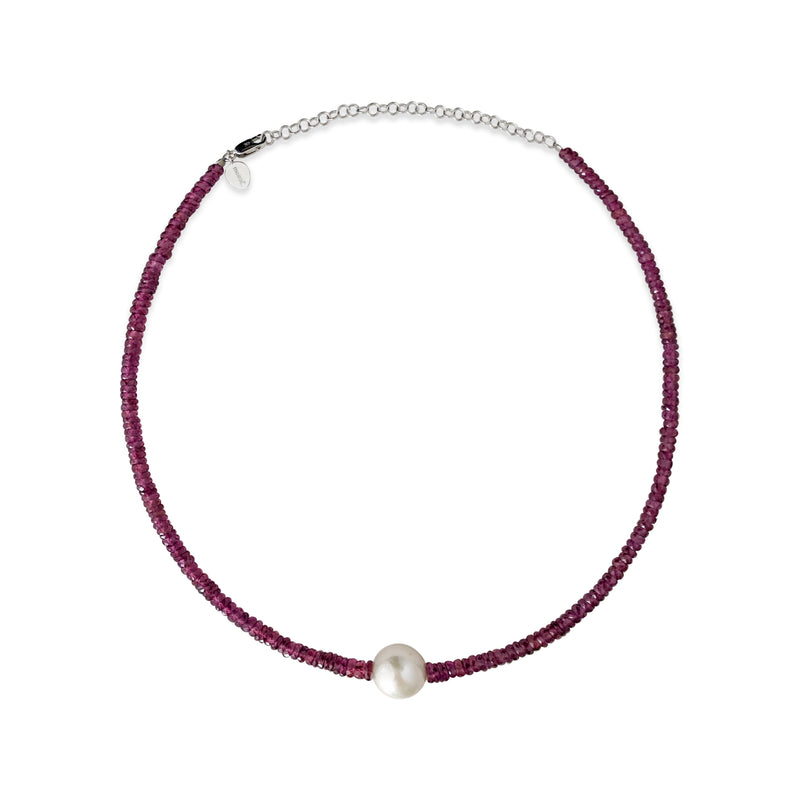 Ruby and Freshwater Pearl Bead Layering Necklace