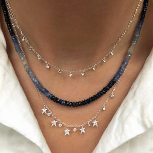 Blue Ombre Sapphire Beaded Necklace