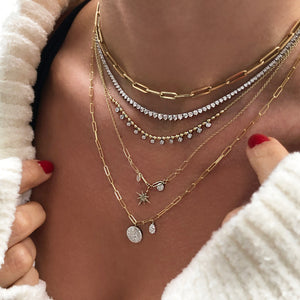 Diamond Disk Paperclip Chain Necklace