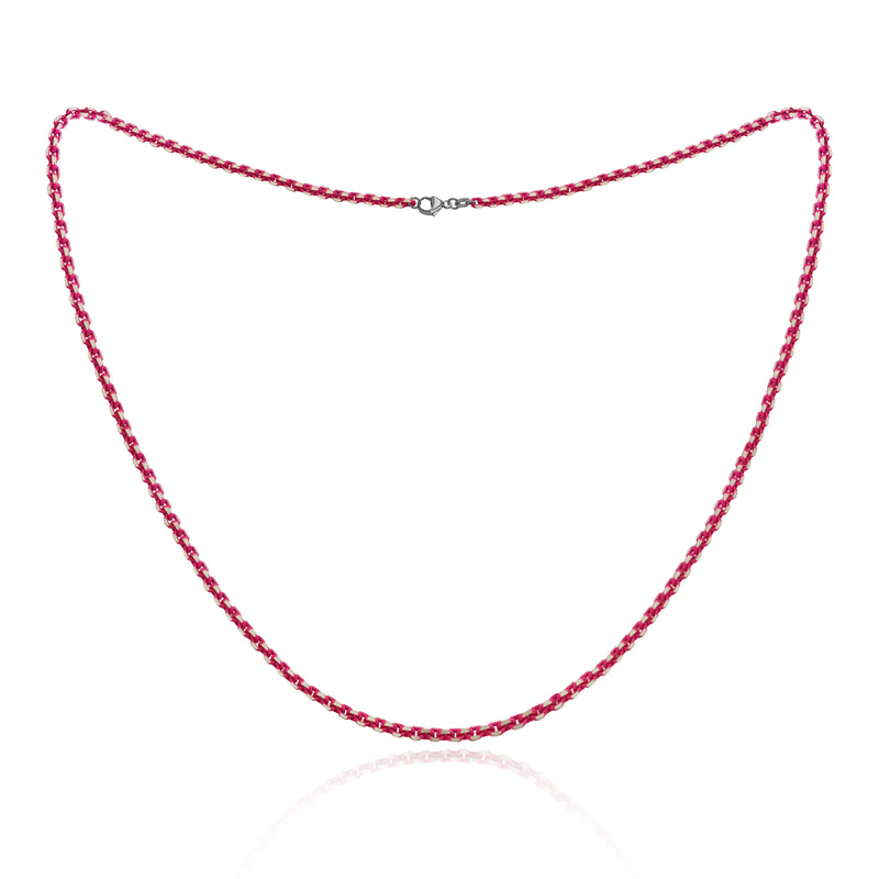Neon Pink Sterling Silver Diamond Cut Layering Necklace, 16 inches
