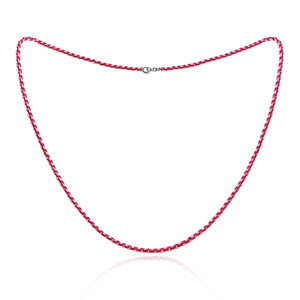 Neon Pink Sterling Silver Diamond Cut Layering Necklace, 20 inches