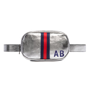 Customizable Initial Silver Metallic Belt Bag Fanny Pack