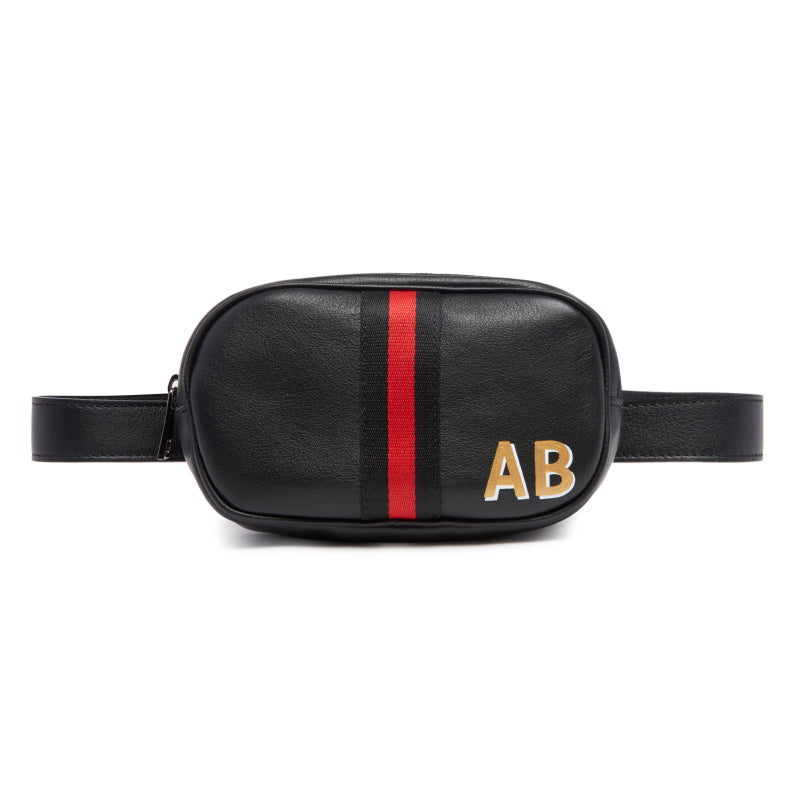 Customizable Initial Black Leather Belt Bag Fanny Pack