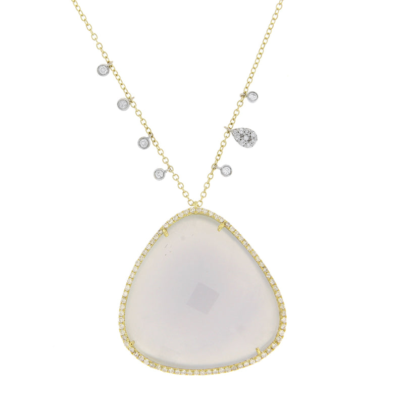 Blue Opal Necklace in Yellow Gold with Diamonds