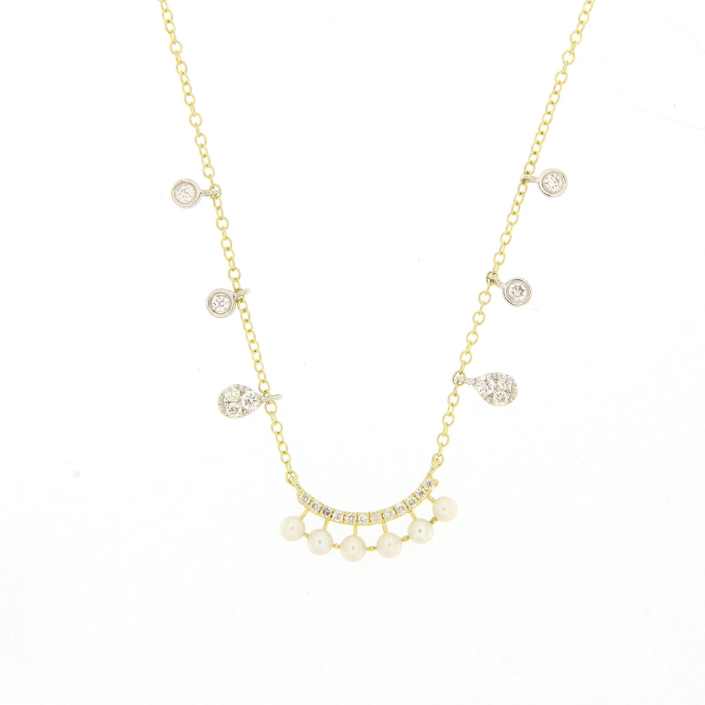 Pearl and Diamond Dainty Necklace