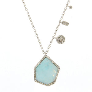 Amazonite White Gold Necklace ONE OF A KIND