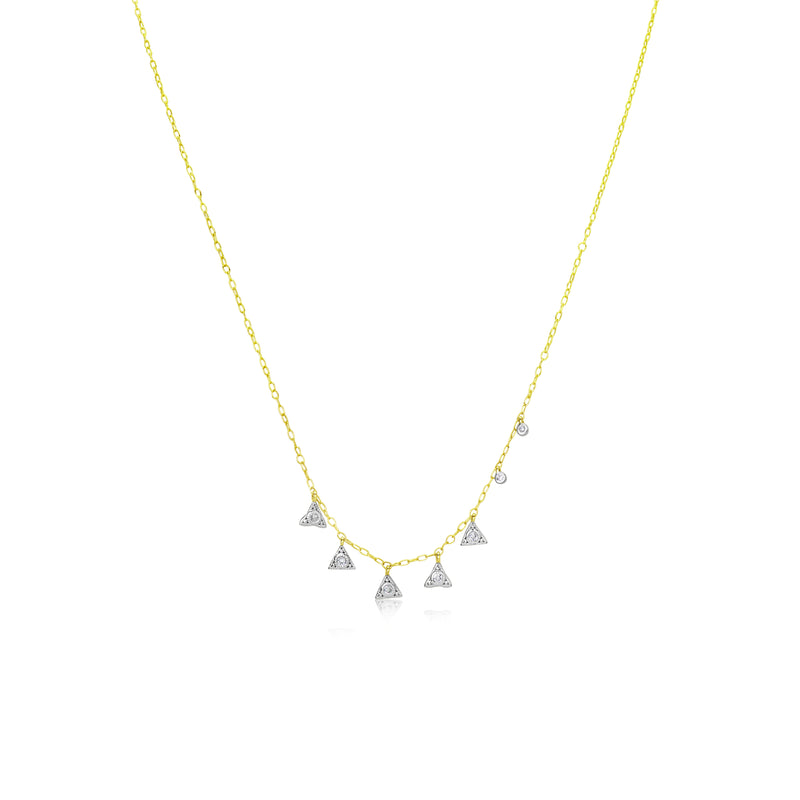 Yellow Gold Triangle Fringe Necklace